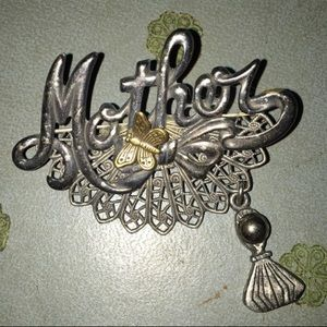 vintage silver tone Mother brooch